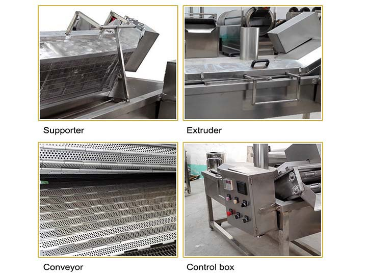 structure details of automatic conveyor frying machine
