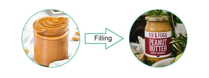 peanut filling, sealing, labeling, and packaging