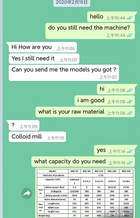 WhatsApp dialogue