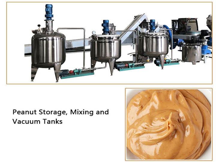 peanut storage, mixing and vacuum tanks