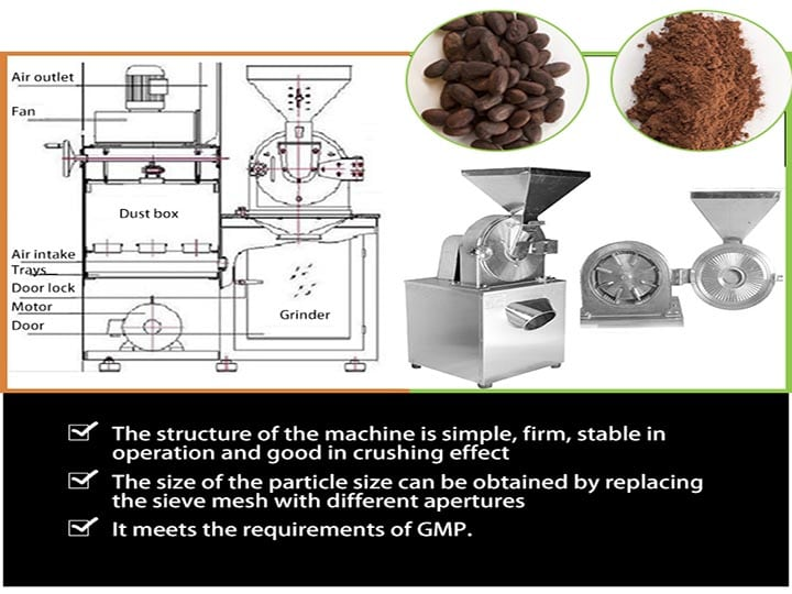 Cocoa powder grinding machine details